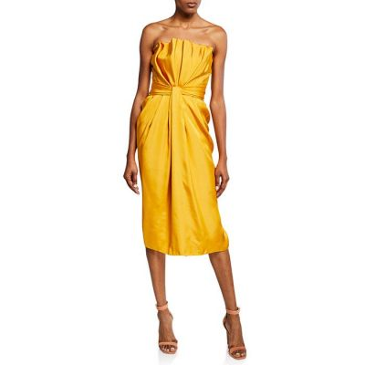 Brandon Maxwell Petal-Front Cocktail Dress - Marigold