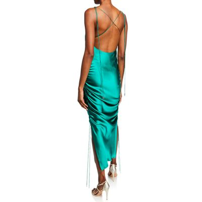 "Galvan London ""Yasmin"" Ruched Slip Dress - Hunter Green"