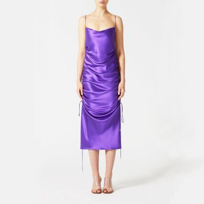 "Galvan London ""Yasmin"" Ruched Slip Dress - Purple"