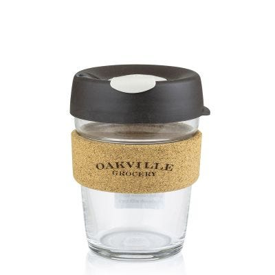 Oakville Grocery Glass and Cork Travel Coffee Mug