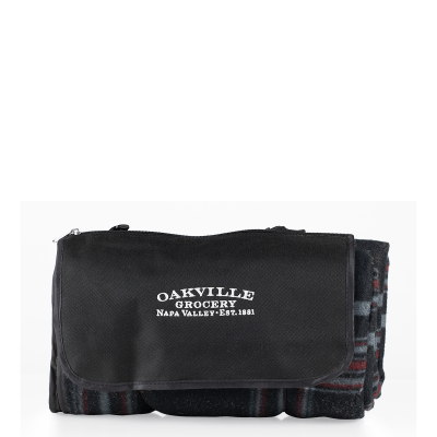 Oakville Grocery Black Plaid Picnic Blanket