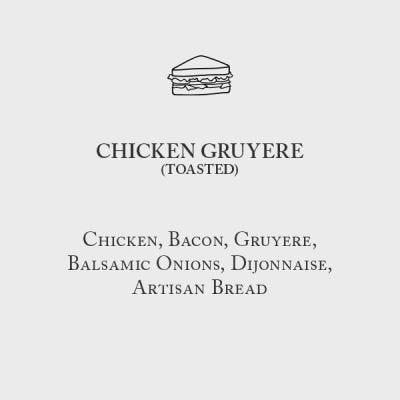 Chicken Gruyere Menu Card