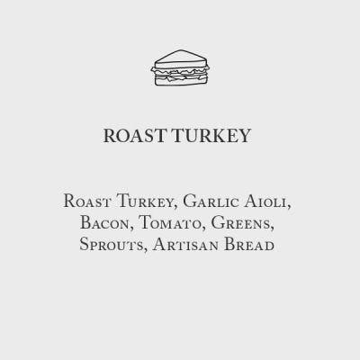 Roast Turkey Sandwich Menu Card