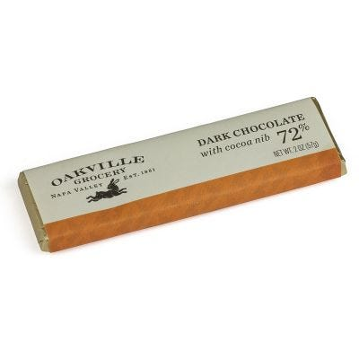 Oakville Grocery 72% dark Chocolate Bar with Cacao Nibs