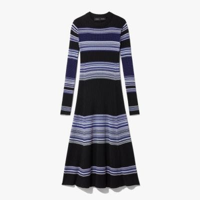 Proenza Schouler Striped Ribbed Dress - Black & Blue